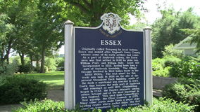 Sign entering Essex stock video footage