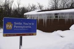 Sign entering Pennsylvania Stock Photography