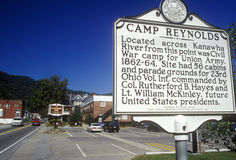 Sign at entrance of Camp Reynolds, on Scenic Highway US Route 60, WV Royalty Free Stock Photo