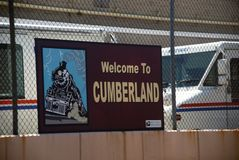 Sign in the entrance of Cumberland, Maryland stock photography