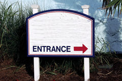 Sign entrance direction of entry on the left  side white blue red Stock Images