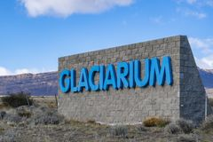 Sign at the entrance of Glaciarium museum in El Calafate. El Calafate, Argentina - Sep 30, 2018: Sign at the entrance of Glaciarium museum in El Calafate. It is royalty free stock photography