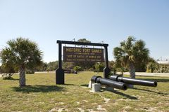 Sign at the entrance of Historic Fort Gaines in Alabama. Entrance to Fort Gaines in Mobile Bay, Alabama. Two canons protect the entrance Stock Image