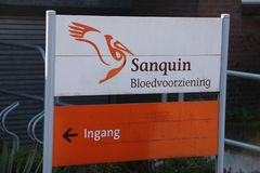 Sign at the entrance ingang of the sanquin blood bank in Voorburg the Netherlands. Sign at the entrance ingang of the sanquin blood bank in Voorburg the stock photo