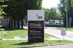 Sign at the entrance of the Jacobs Douwe Egberts coffee factory on the Keulsekade. In Utrecht in the Netherlands stock photo