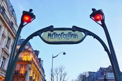 Sign at the entrance of a metro Metropolitain subway station in Paris, France Royalty Free Stock Images