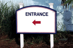 Sign entrance middle direction of entry on the right side white blue red total white Royalty Free Stock Photography