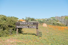 Sign at the entrance of the Namaqua National Park Stock Images