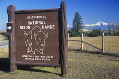 Sign at entrance of National Bison Range, MT Royalty Free Stock Photography