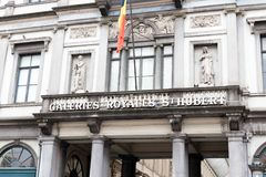 Brussels/Belgium-01.02.19 : Gallery Royal Saint Hubert entrant front in Brussels stock image