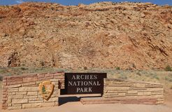 Sign at the Entrance to Arches National Park Stock Images