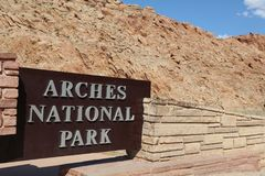 Sign at the Entrance to Arches National Park Stock Photo