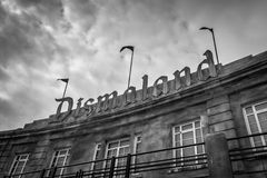 The sign at the entrance to Banksys Dismaland Bemusement Park. Royalty Free Stock Photography