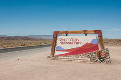 Sign at the entrance to Death Valley National Park, California, USA stock photos