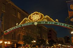 Sign at the entrance to the Gaslamp Quarter in San Diego. royalty free stock photography