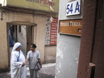 Sign on the entrance to Mother House, the residence of Mother Teresa in Kolkata Stock Photo