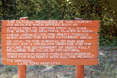 Sign at the entrance to National Park in Marsabit Kenya. Stock Photos