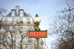 A sign at the entrance to the Paris Metro Stock Photography