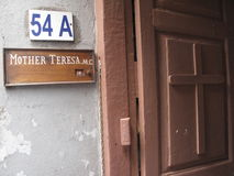 Sign on the entrance to the residence of Mother Teresa in Kolkata Stock Image