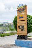 Sign at entrance to Sunset Beach and The Refuge in Simpson Bay, Philipsburg, Sint Maarten stock photos