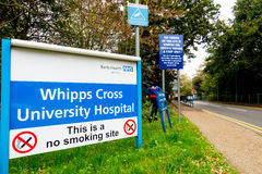 Sign at the entrance to Whipps Cross Hospital, Stock Photography