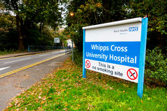 Sign at the entrance to Whipps Cross Hospital, Royalty Free Stock Photos