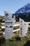 Sign at the entrance of Torres del Paine National Park, Patagonia, Chile Stock Image