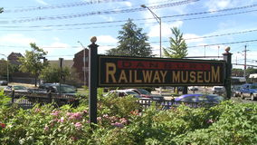 Sign at entrance of Train Museum stock footage
