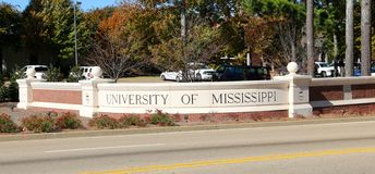 Sign at the entrance of the University of Mississippi. Ole Miss at Oxford university entry sign royalty free stock photography