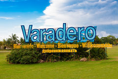 Sign at the entrance of Varadero beach in Cuba Stock Photos