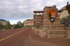 Sign at Entrance of Zion National Park Royalty Free Stock Photo
