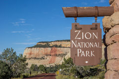 Sign at the entrance of Zion National Park Royalty Free Stock Images
