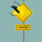 Sign of entrepreneur launching. Startup wording on road sign. Stock Image