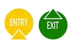 Sign of entry and exit. From the premises. Pointer to the door of public buildings. Vector illustration Stock Photo