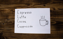 Sign espresso latte cocoa cappuccino Royalty Free Stock Images