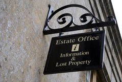 Sign. estate office, information & lost property. Stock Images