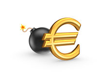 Sign of euro and black bomb. Royalty Free Stock Photo