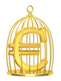 Sign euro in a cage Stock Images