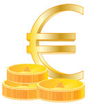 Sign euro and coins Stock Image
