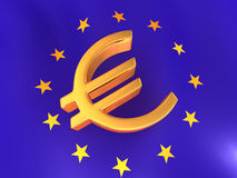 Sign of Euro on European flag Royalty Free Stock Image
