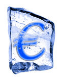 Sign EURO frozen in the ice Royalty Free Stock Image