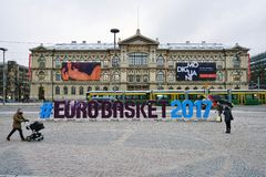 Sign for the EUROBASKET 2017 in Helsinki Stock Images