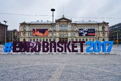 Sign for the EUROBASKET 2017 in Helsinki Stock Image