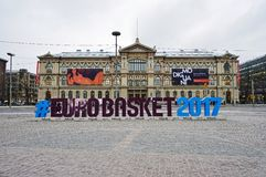 Sign for the EUROBASKET 2017 in Helsinki Royalty Free Stock Photos