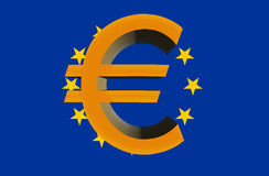 Sign, eurocurrencies against an European Union prapor Royalty Free Stock Images