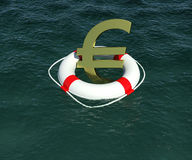 Sign of European currency in rescue disk. Floats on water. 3d rendering Royalty Free Stock Photography