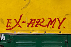 Sign ex army on a car Stock Image