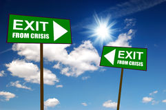 Sign exit from crisis Stock Photos