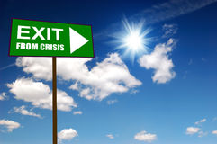 Sign exit from crisis Stock Images