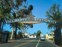 Liberty Station sign. Sign at the exit of Liberty Station which is a mixed use area in San Diego, California, on the site of the former Naval Training Center San royalty free stock images